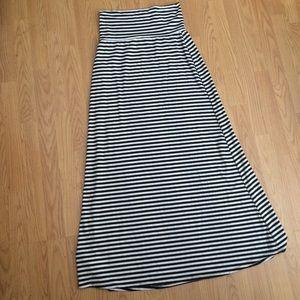 Long, black and white striped skirt